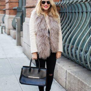 Loro Piana Coat (Similar here + here) // Shearling Stole (similar) // J. Brand Jeans // Henri Bendel Bag // Manolo Blahnik Heels