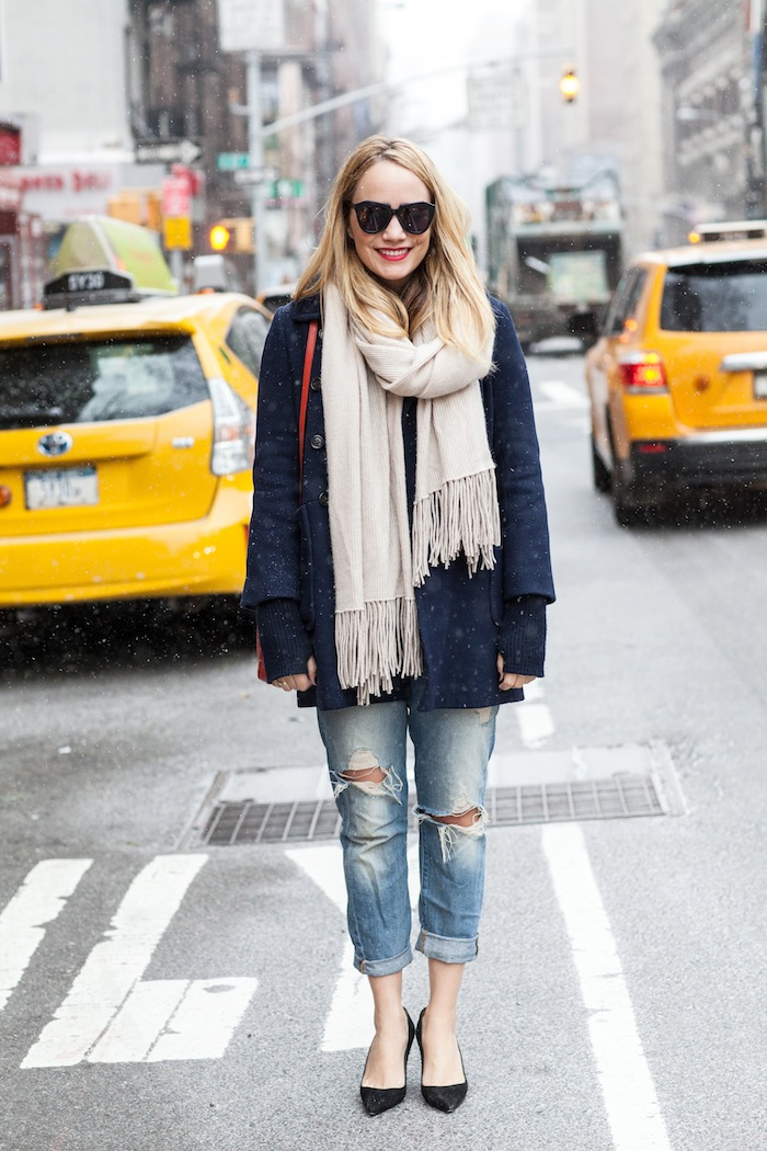 J. Crew Coat (similar here or here) // Margaret O'Leary Wrap // Old Navy Tee // 7FAM Jeans (similar) // Manolo Blahnik Pumps