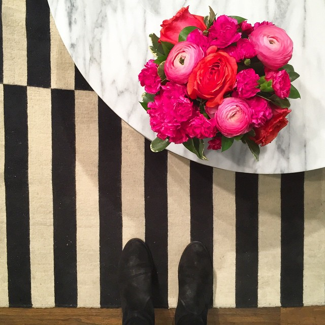 stripes + ranunculus at work today.