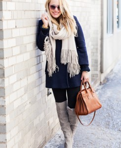 J.Crew Coat // Margaret Elizabeth Scarf // Express Leggings / Chinese Laundry Boots // Saint Laurent Bag