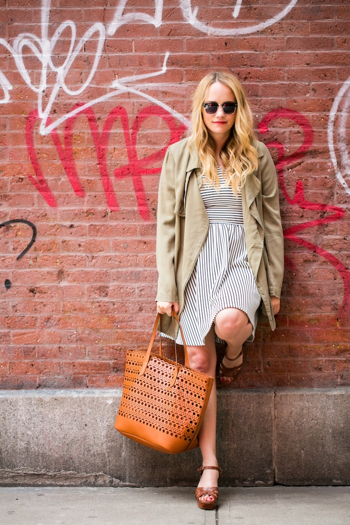 Jacket // Striped Dress // Perforated Tote