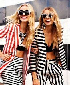 happy girls wear stripes