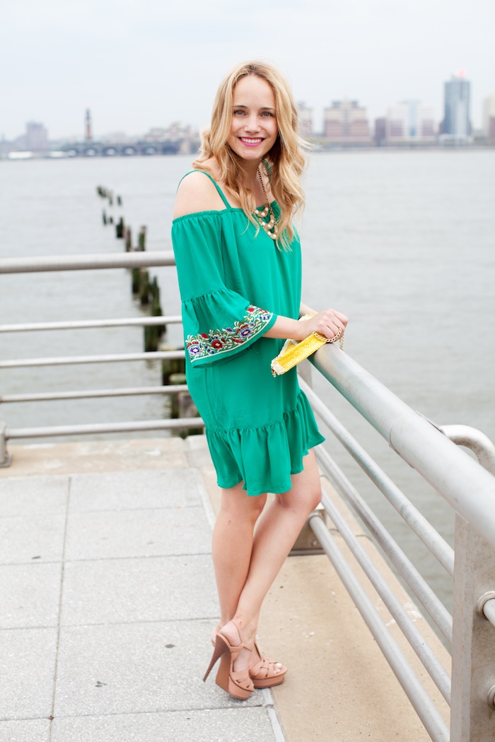 Embroidered Green Dress - The Stripe