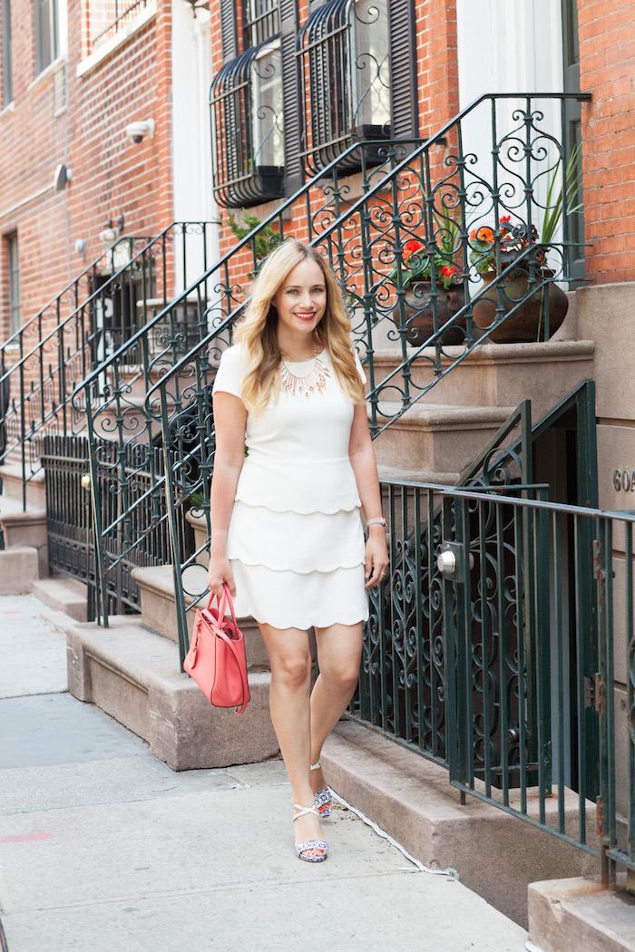Club Monaco White Scalloped Dress - The Stripe.