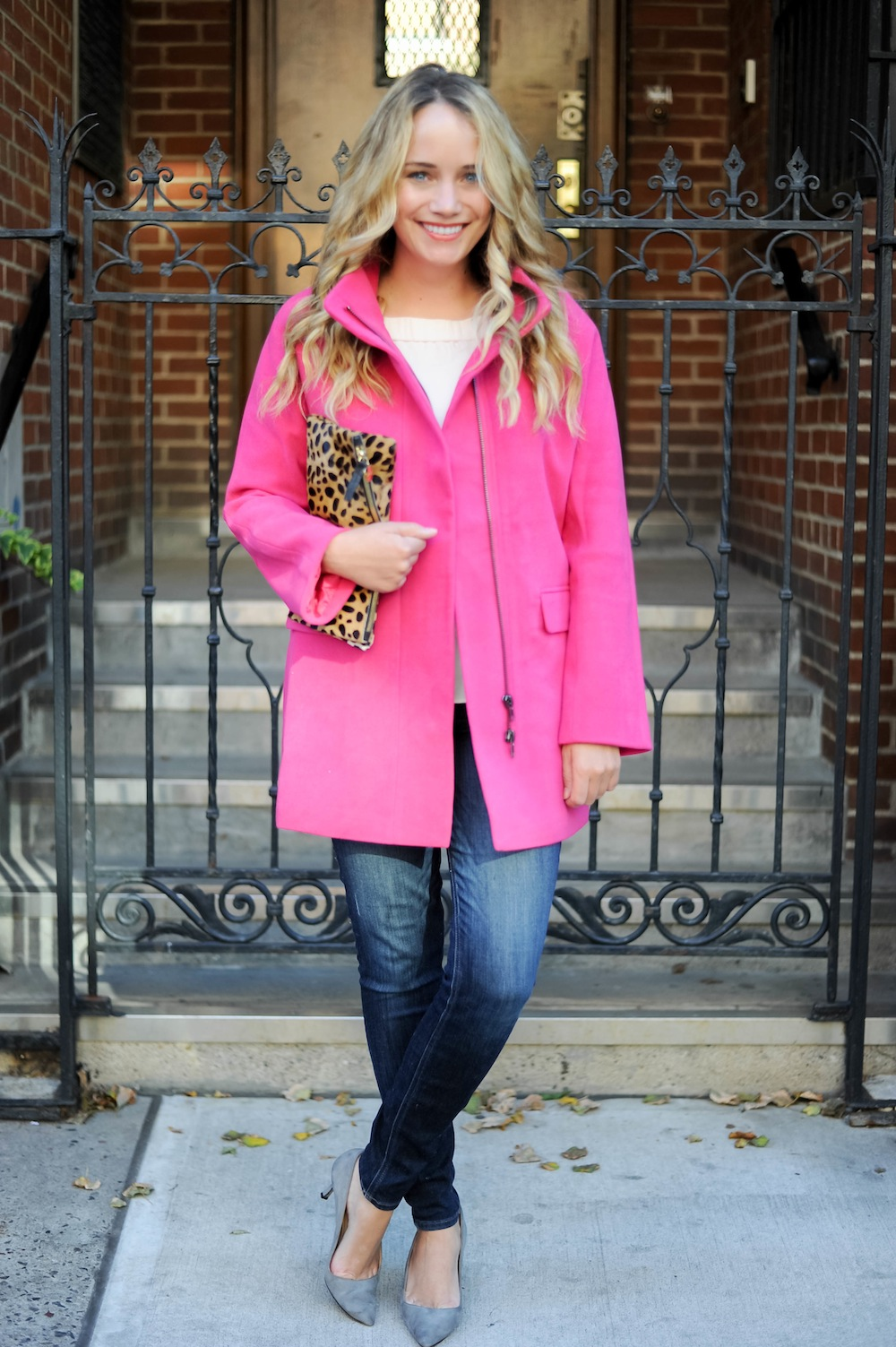 bows and sequins clothing line - pink cocoon coat.