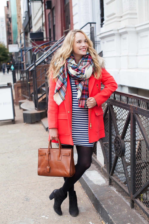 j.crew chateau parka // lou & grey striped dress // asos blanket scarf - the stripe.