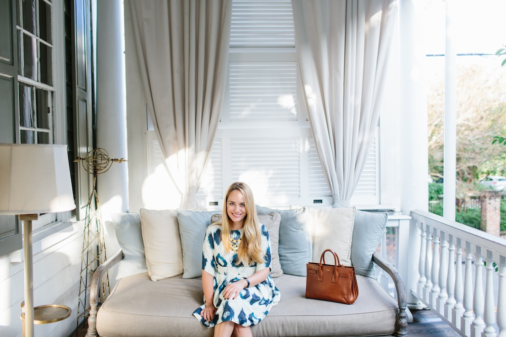 Grace Atwood wearing a Troubadour Dress at the Zero George Hotel in Charleston, SC.
