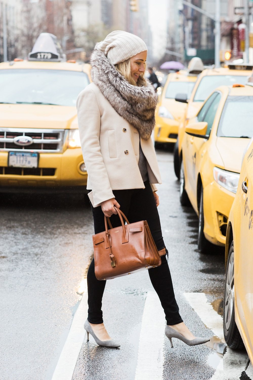 cozy winter outfit - loro piana short jacket, j. brand ripped jeans, henri bendel faux fur scarf. grace atwood, the stripe