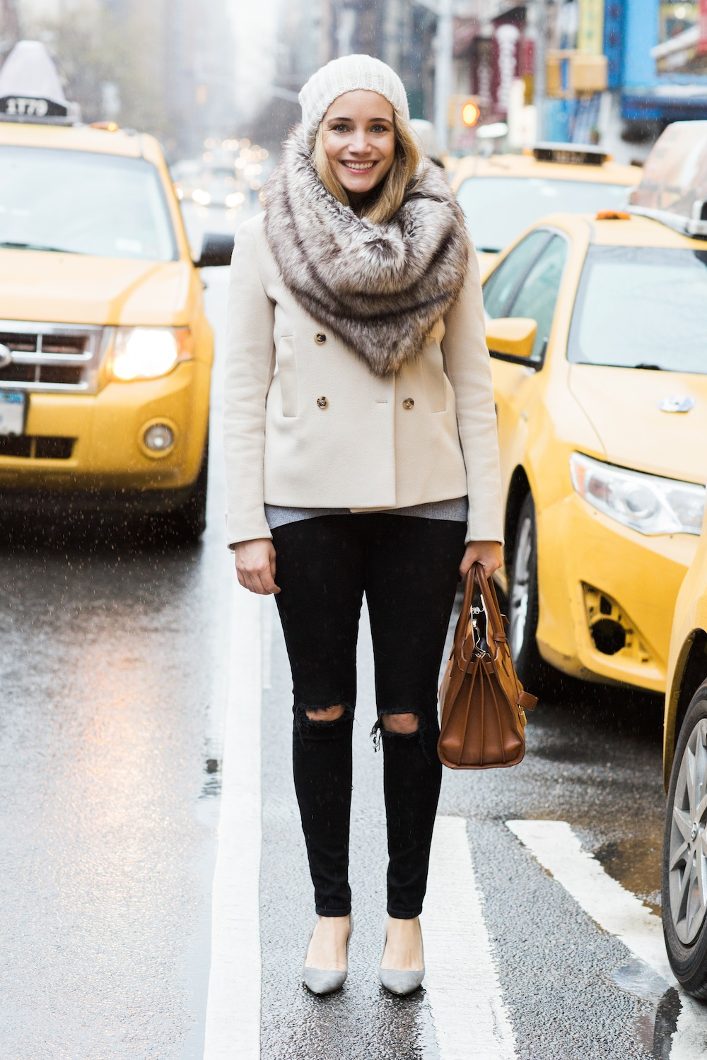 cozy winter outfit idea - loro piana short jacket, j. brand ripped jeans, henri bendel faux fur scarf. grace atwood, the stripe