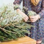 DIY Baby's Breath Pine Tree Arrangement.