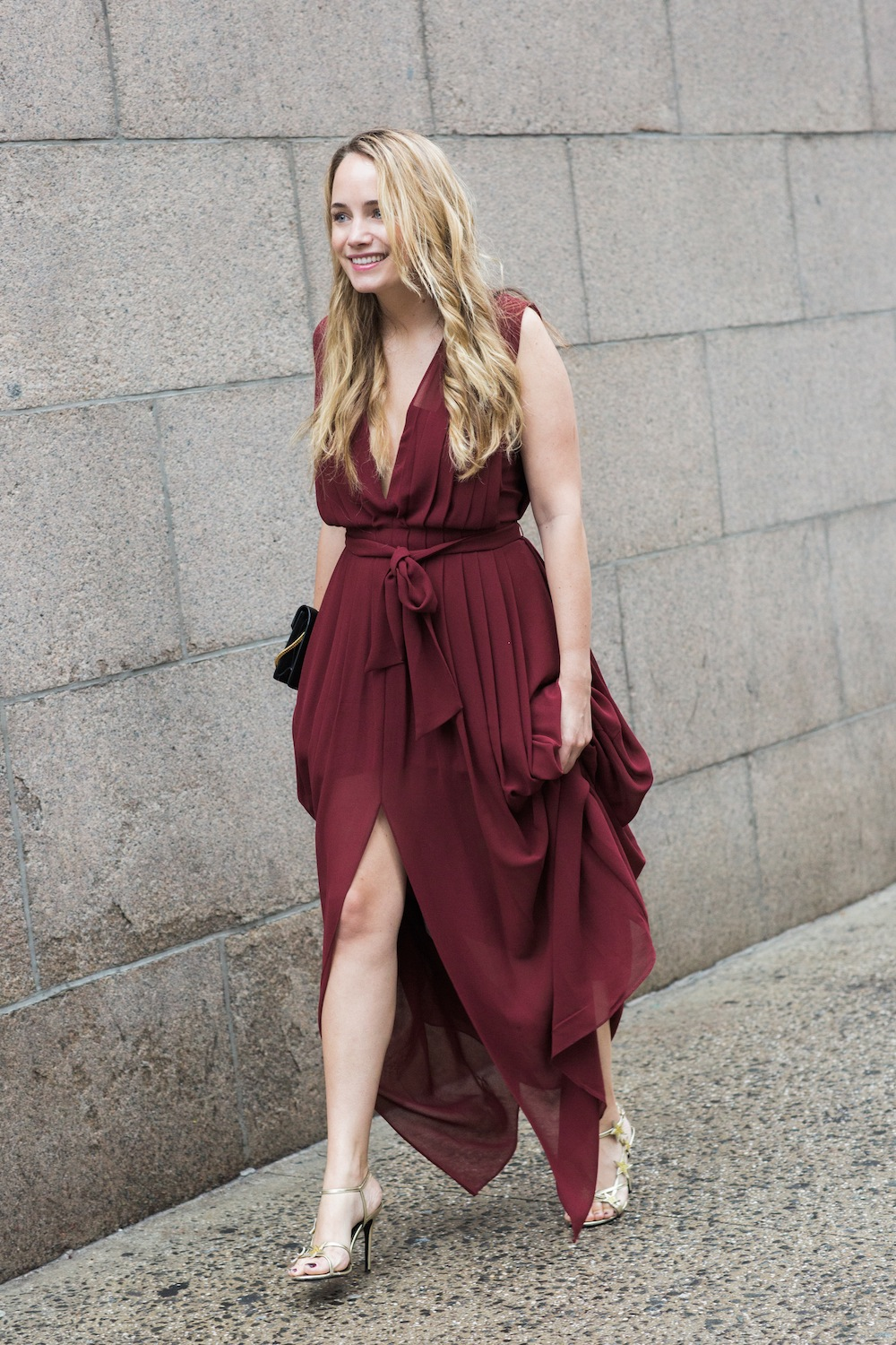 l'agence lilly pleated gown, saint laurent betty bag, valentino red star sandals - grace atwood, the stripe
