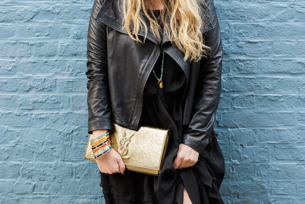by malene birger silk maxi dress with vince leather jacket and saint laurent gold clutch and holst + lee jewelry - the stripe