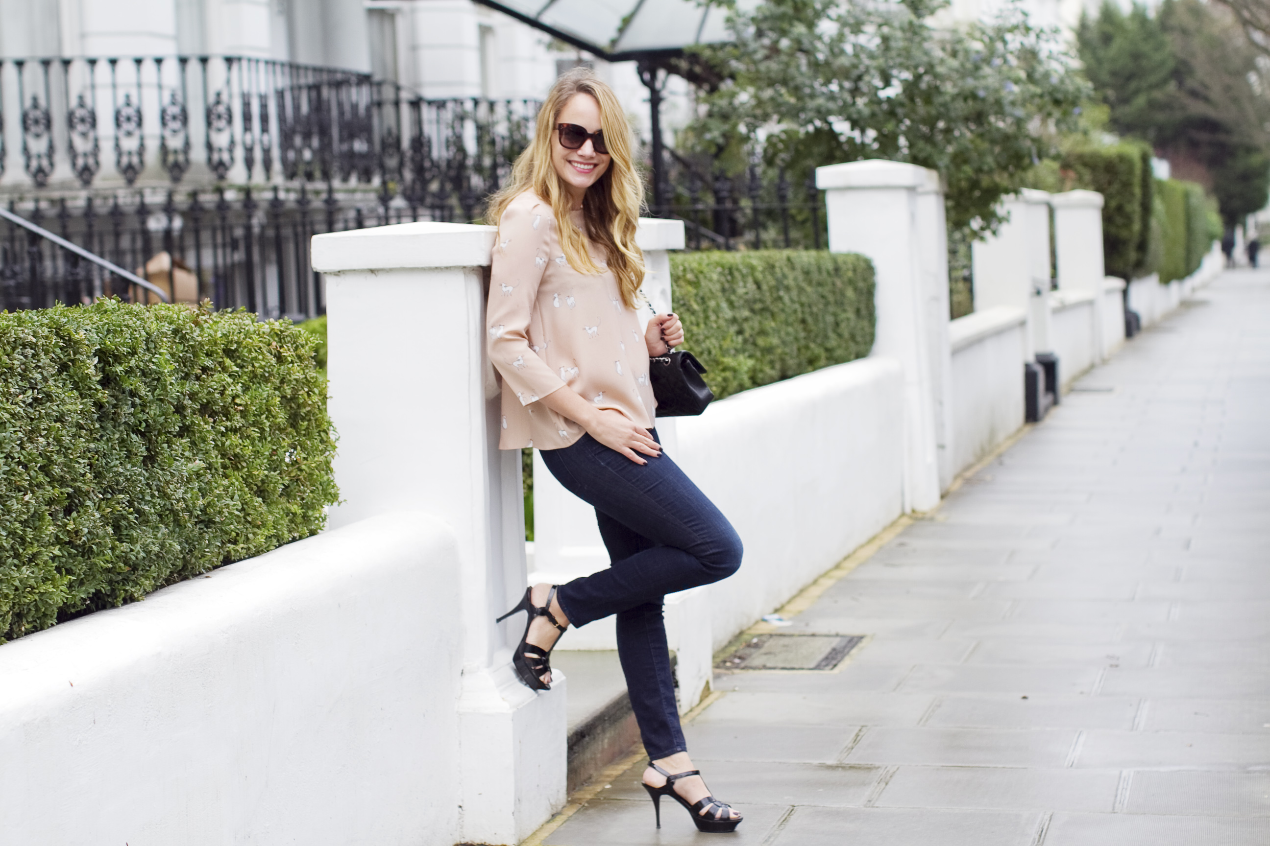 Claudie Pierlot Bampolinebis Top, DL1961 Jeans, Chanel 2.55 Bag, Saint Laurent Tribute Sandals - Grace Atwood, The Stripe (taken at The Laslett Hotel in Notting Hill, London)