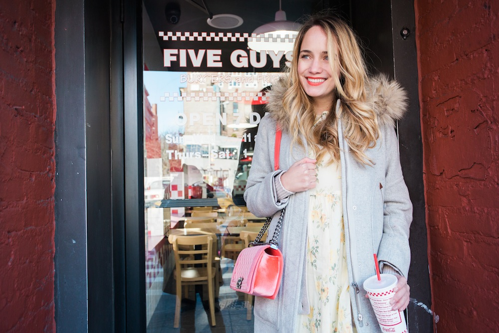 an afternoon at five guys burger joint in new york city - featuring coca-cola freestyle (wearing j.crew chateau parka , the great floral dress, chanel purse) grace atwood, the stripe.
