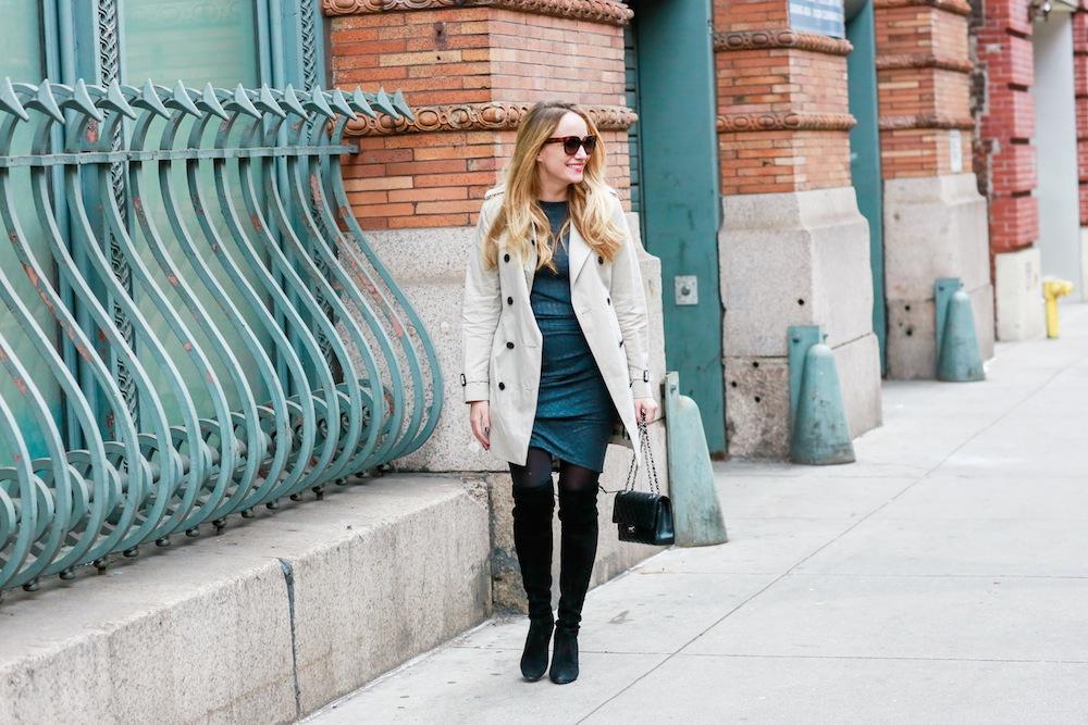 gray jersey dress // stuart weitzman highland boots, burberry kensington trench // chanel 2.55 bag - grace atwood, the stripe