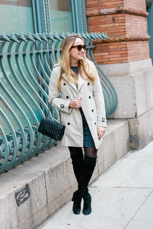 gray jersey dress // stuart weitzman highland boots // burberry kensington trench coat // chanel 2.55 bag - grace atwood, the stripe