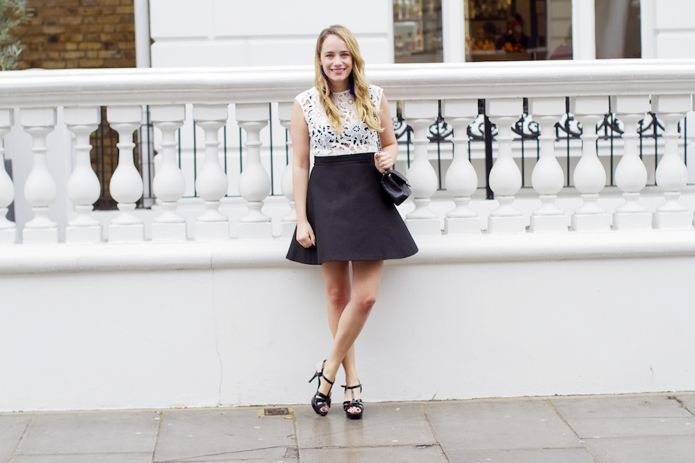 Sandro Black & White Lace Fit & Flare Dress, Chanel 2.55 Bag, BaubleBar Tassel Earrings, Saint Laurent Tribute Sandals - Grace Atwood, The Stripe