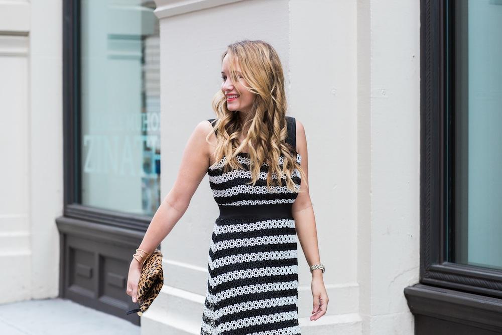 asos striped lace midi dress, clare v leopard clutch - grace atwood, the stripe