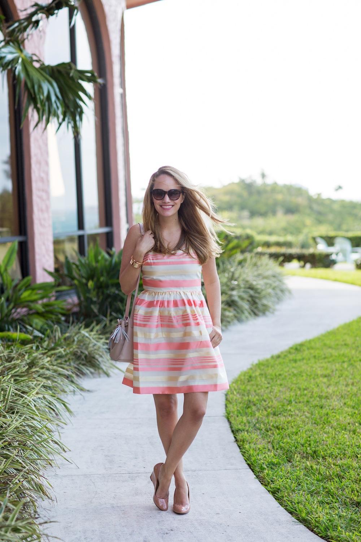Peach Striped Dress 4