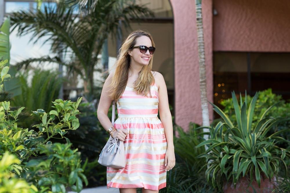 Peach Striped Dress 5