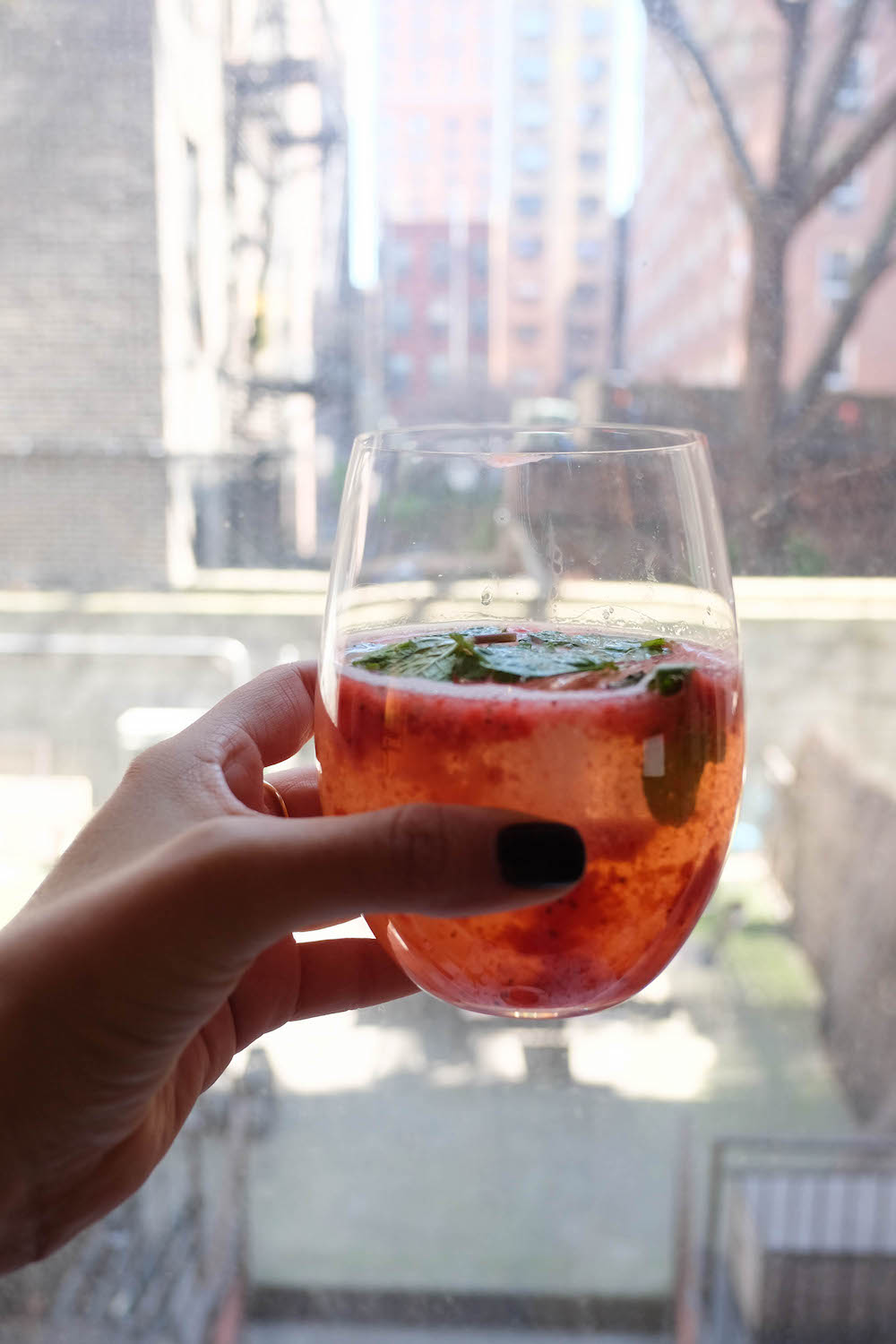 Strawberry White Wine Spritzer Cocktail Recipe - The Stripe Blog10