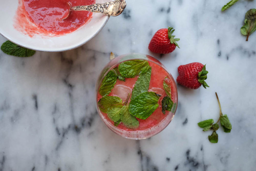 Strawberry White Wine Spritzer Cocktail Recipe - The Stripe Blog11