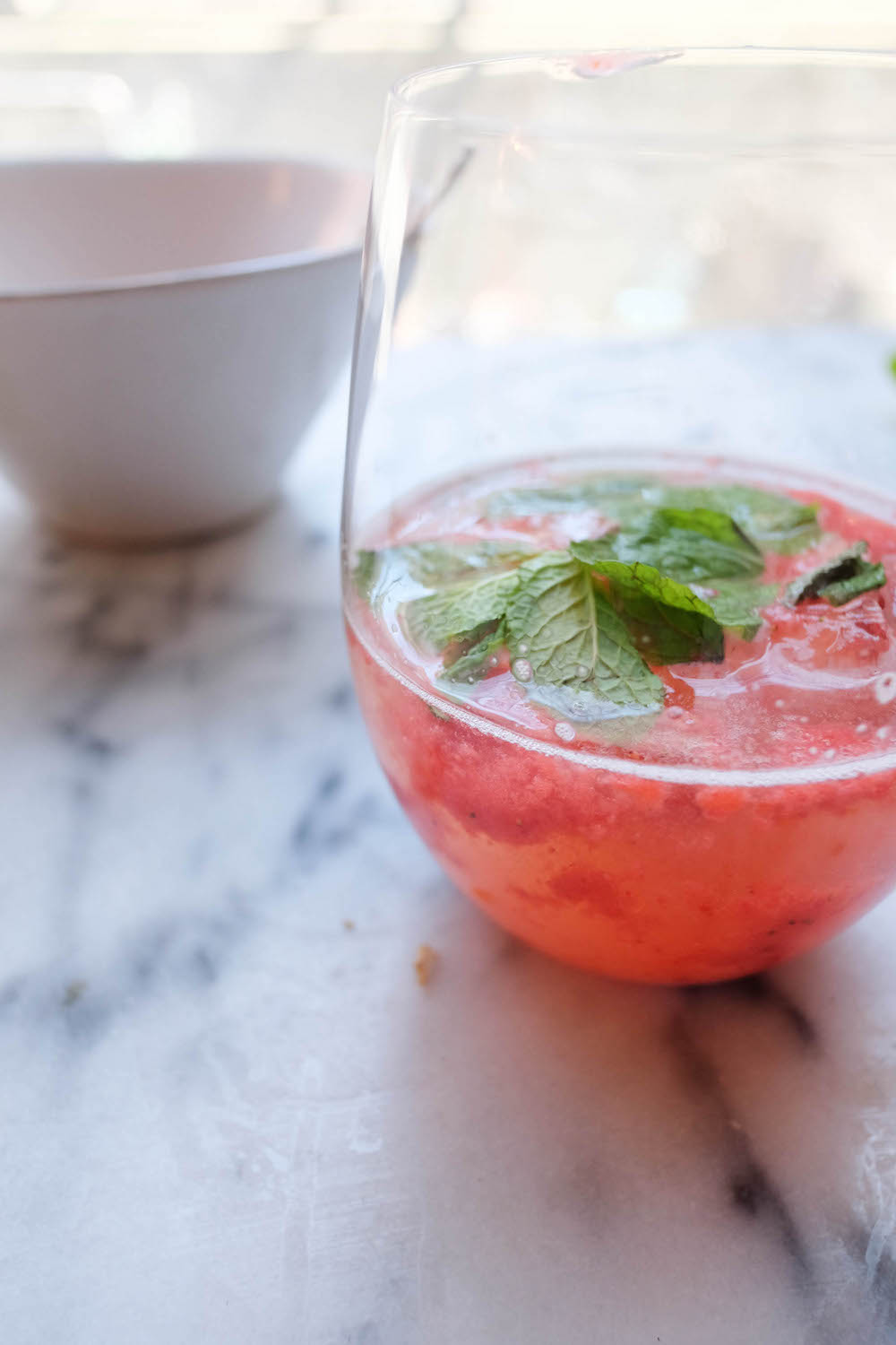 Strawberry White Wine Spritzer Cocktail Recipe - The Stripe Blog8