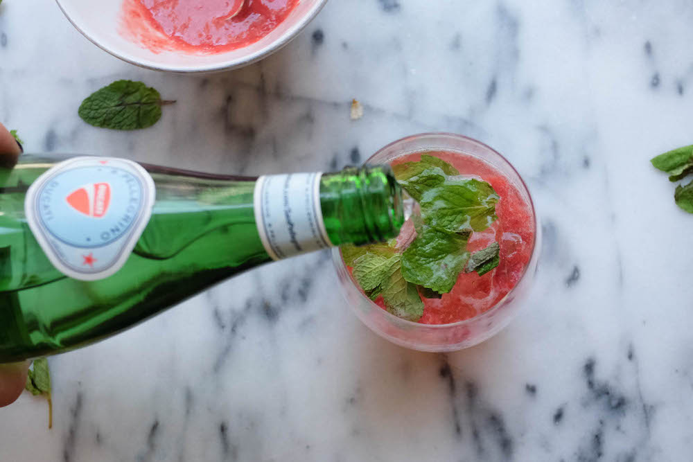 Strawberry White Wine Spritzer Cocktail Recipe - The Stripe Blog9