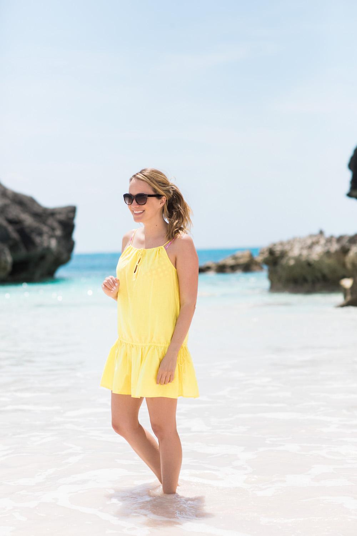 J.Crew Factory drop-waist drawstring dress in vivid lemon - Shot at Horseshoe Bay, Bermuda - Grace Atwood, The Stripe