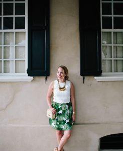 palm leaf print skirt 1