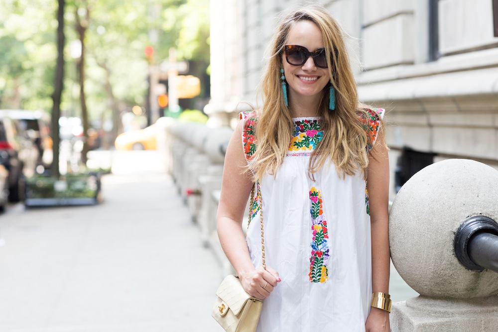 Mi Golondrina Embroidered Dress   BaubleBar Tassel Earrings   Soludos Tall Espadrilles - Grace Atwood, The Stripe - Easy Summer Outfit Ideas
