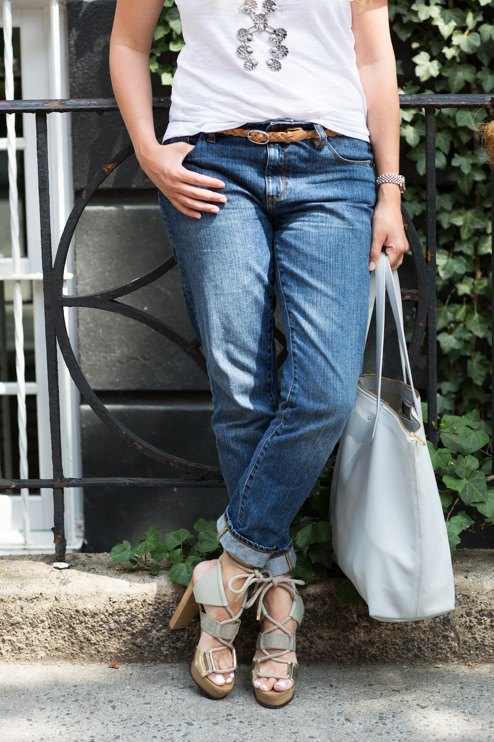 Grana Slub Knit Tee + Slim Boyfriend Jeans, BaubleBar Squash Blossom Necklace, Jimmy Choo Henni Sandals, Cuyana Tote - Grace Atwood, The Stripe