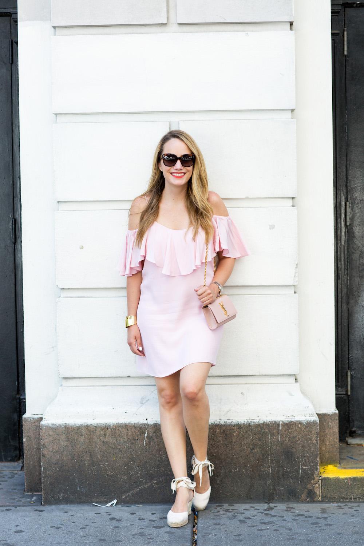 MISA Emil Dress // BaubleBar Pisa Cuff // Soludos Tall Wedges // Saint Laurent Monogram Crossbody Bag   Grace Atwood, The Stripe: Blush Crush