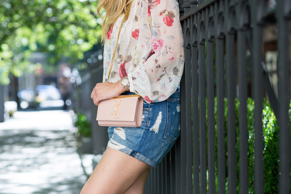 Zimmermann Mischief Floral Print Swing Blouse, BaubleBar Artemis Pendant, Rag & Bone Jean Shorts, Marni Jeweled Sandals, Saint Laurent Monogram Crossbody Bag | Grace Atwood, The Stripe: Summer in the City