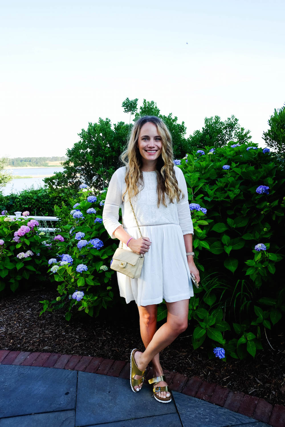 The Wequassett Resort and Golf Club - Grace Atwood, Suncoo Dress, Gold Birkenstock Sandals