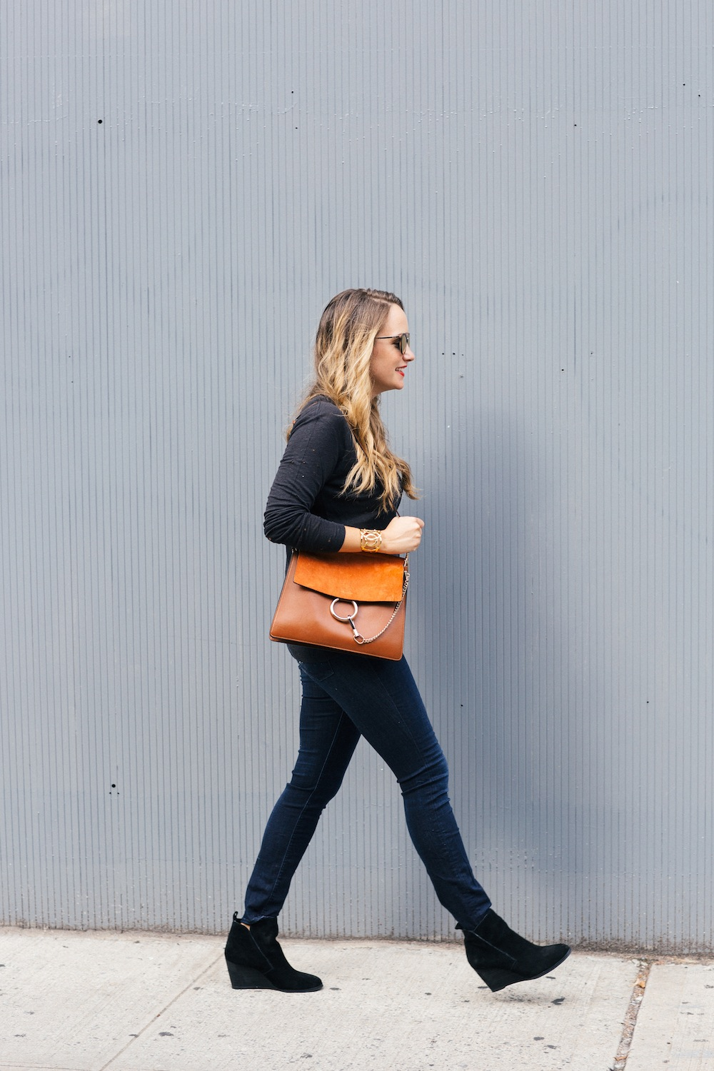 Iro Marvina Tee, DL1961 Instasculpt Jeans, Chloe Faye Bag, Sole Society Brigitte Wedge Booties - Grace Atwood, The Stripe