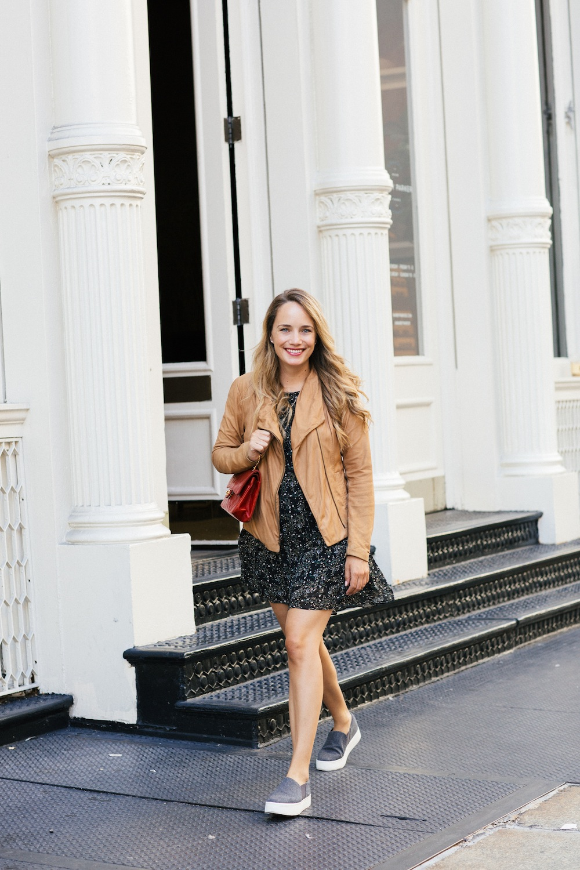 Vince Leather Scuba Jacket + Joie Tahoma Dress - Grace Atwood, The Stripe