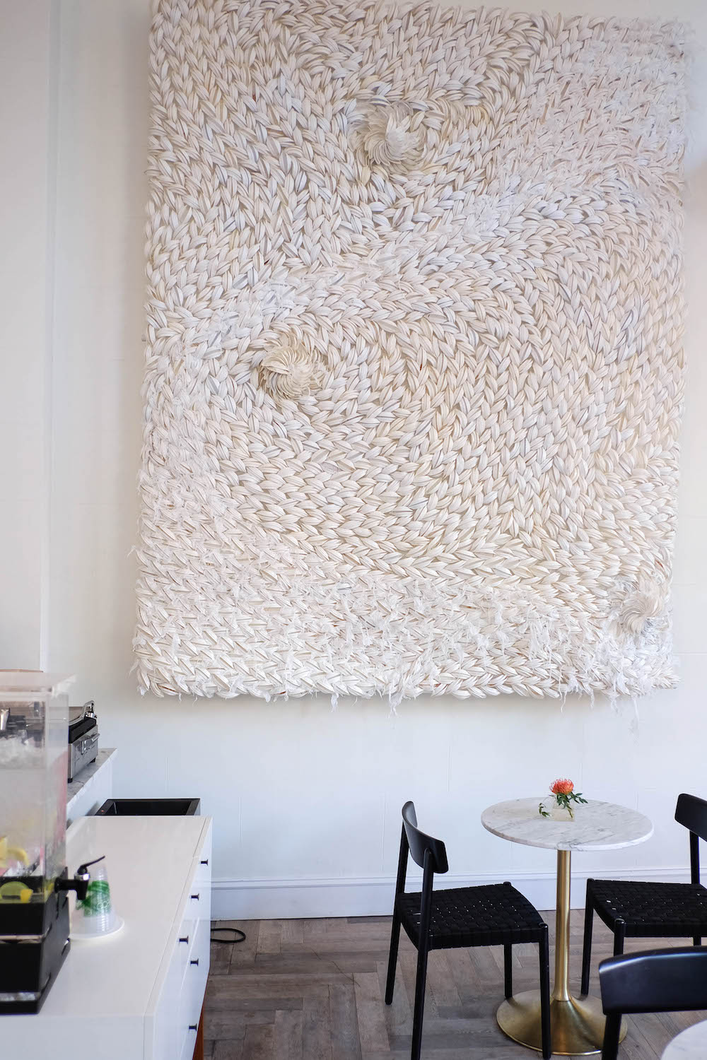 The Quirk Hotel Richmond VA. Grace Atwood The Stripe // Art made from Coffee Top Lids