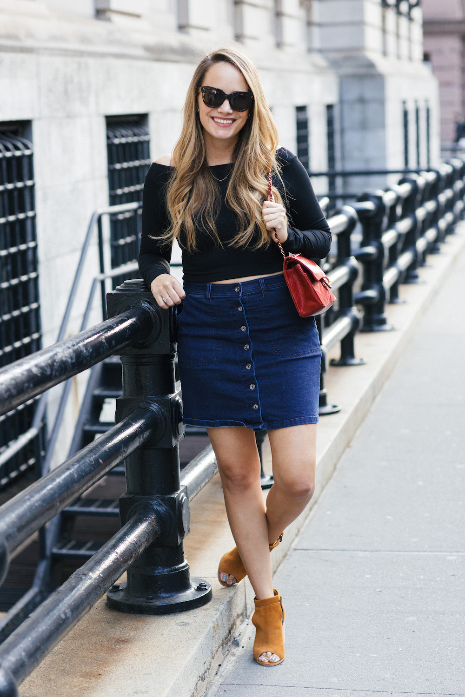 Susana Monaco Crop Top, Vince Camuto Button-Front Denim Skirt - Grace Atwood, The Stripe