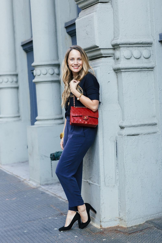 Grana Chinese Silk Pants + Silk/Cashmere Tee. Monochromatic Dressing, Navy Blue - Grace Atwood, The Stripe