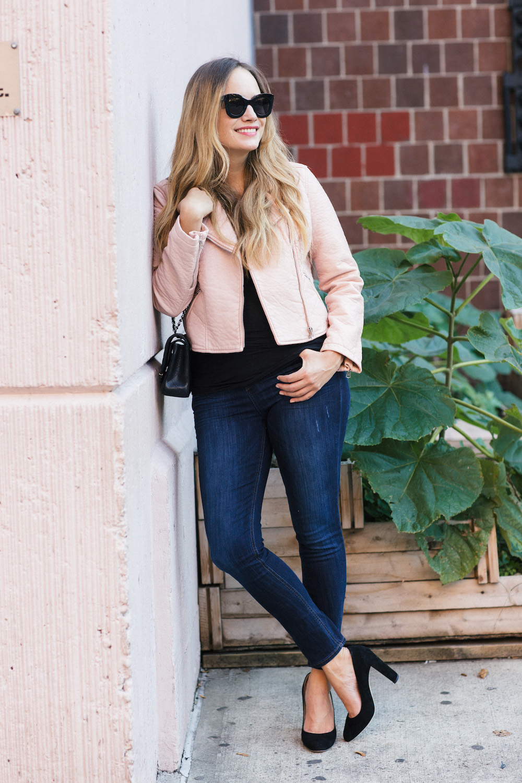 Blush Leather Jacket - The Stripe | Belle + Skye Pleather Moto Jacket, DL1961 Instasculpt Jeans, Jimmy Choo Laria Pumps - Grace Atwood