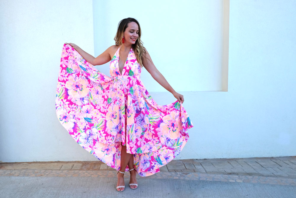 Easy Vacation Outfits - What I Wore to the Los Cabos Film Festival. Lilly Pulitzer Giselle Maxi Dress // Hart Hagerty Tassel Earrings