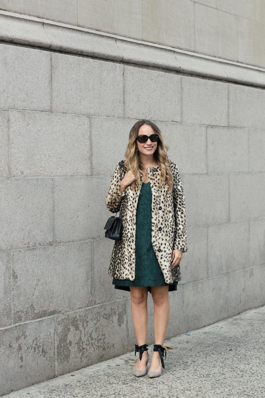 The Best Leopard Coat. J. McLaughlin Faux Leopard Coat // Paper Crown Fez Dress // Chanel Purse // Banana Republic Pumps // J. McLaughlin Luna Oversized Sunglasses - Grace Atwood, The Stripe