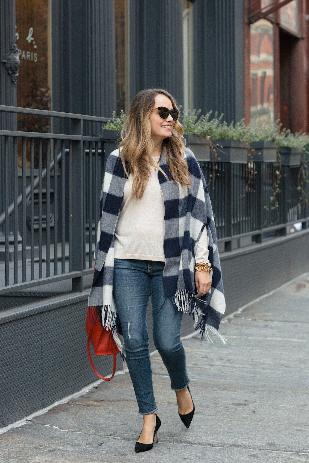 Easy Fall Outfit Ideas: J.Crew Gingham Cape, Joie Marianna Sweater, Rag & Bone Frayed Skinny Jeans - Grace Atwood, The Stripe
