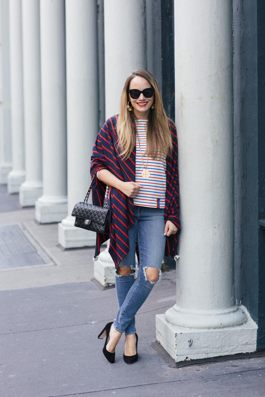 Stripes on Stripes: Donni Ballsi Wrap, Good American Jeans, Kule Striped Tee - Grace Atwood, The Stripe.