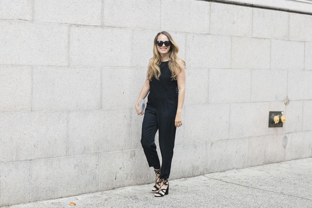 LOFT Lace Top Jumpsuit | New Years Eve Outfit Ideas - The Stripe, Grace Atwood