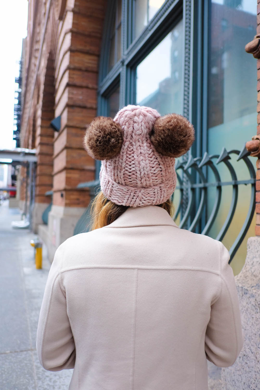 "diy double pom pom beanie - inspired by eugenia kim's $225 ""mimi"" beanie // the stripe blog"