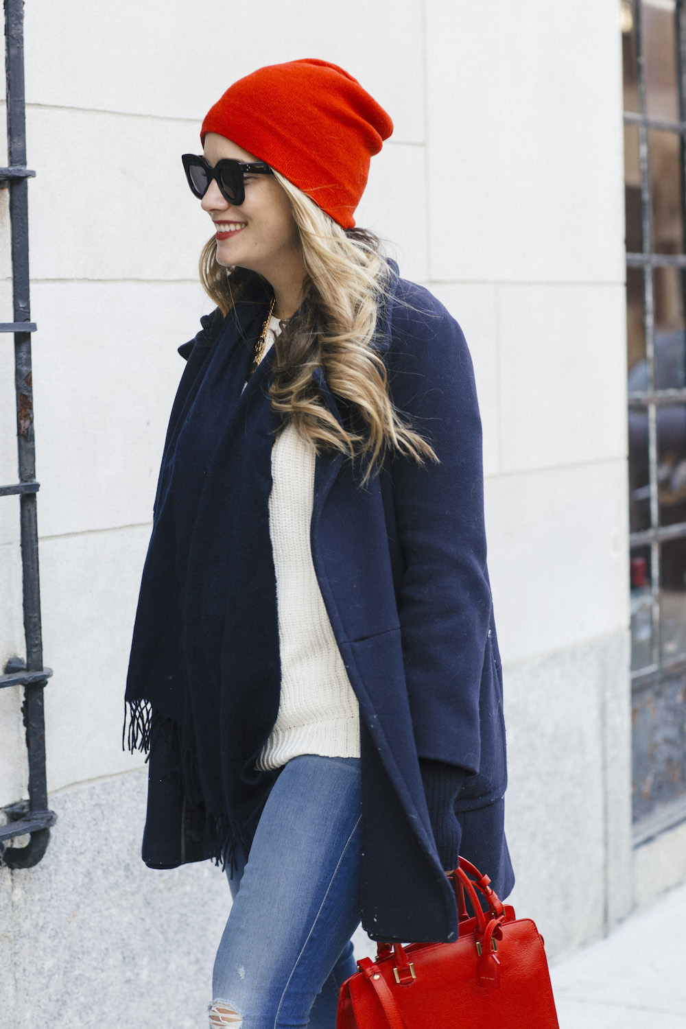 Navy Peacoat | Grace Atwood, The Stripe // Cozy Winter Outfit Idea