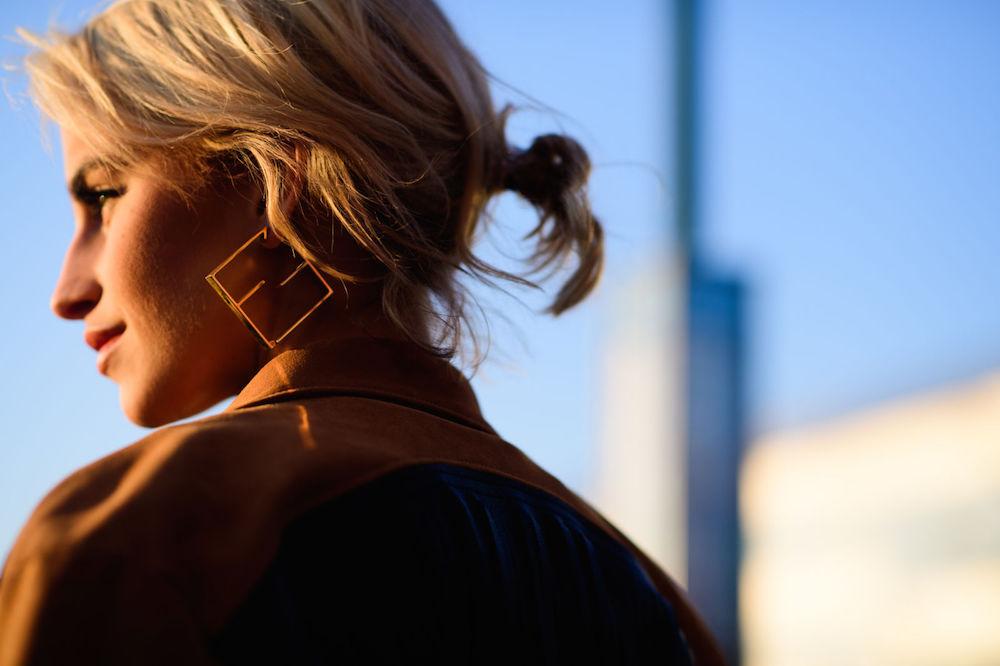 wearable street style nyfw fall 2017 // geometric earrings   the stripe