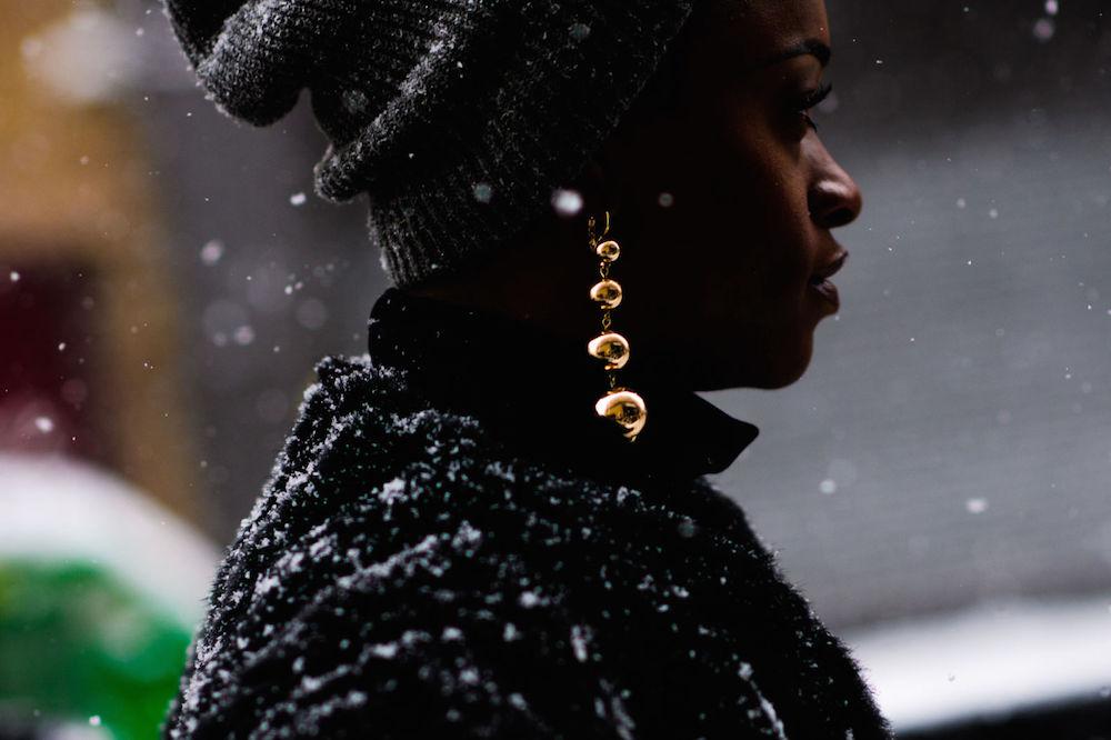 gold earrings nyfw street style 2017 | the stripe blog